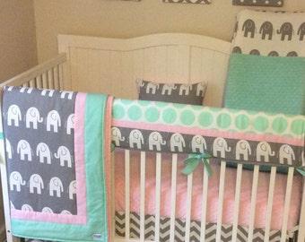 lavender and gray chevron and elephant mini crib bedding set. Black Bedroom Furniture Sets. Home Design Ideas