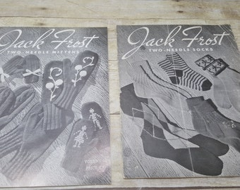 Jack Frost set of 2 booklets, 1955, two needle socks, two needle mittens, vintage magazines
