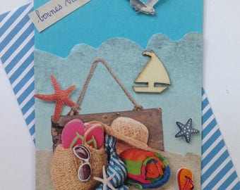 Birthday, any occasion card, handmade, 3D, at the beach