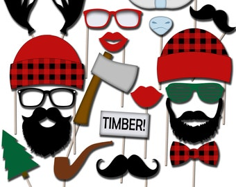 Printable Lumberjack Photo Props, Lumberjack Photo Booth Props, Holiday Props, Instant Download - DP406
