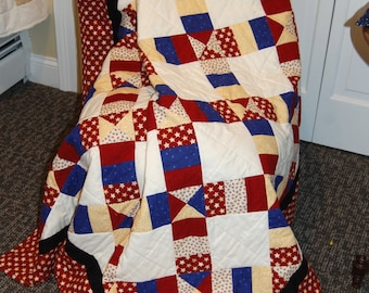 Americana Throw Quilt, Hand Quilted Stars and Stripes Blanket, Red White and Blue Bedding