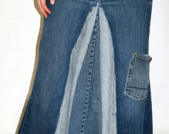 Long Jean Skirt with Pocket, Made To Order