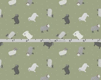Tiny Green Sheep Fabric, Lewis & Irene Fabric, Small Things on the Farm Fabric SM5.2 Green Small Print Sheep Quilt Fabric, Cotton Yardage