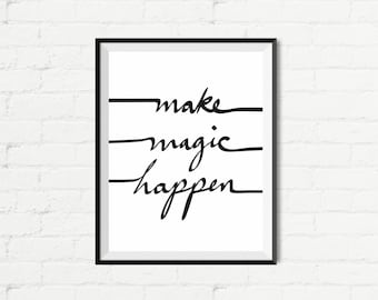 "Inspirational Quote Wall Decor ""Make Magic Happen"" Typography Print Inspirational Poster Instant Digital Printable Download2"