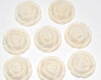 Vintage Style Creamy White Rosebud Rose Bud Flower Cabochons 15mm cab464