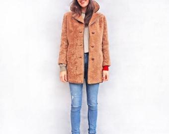 Teddy Bear Coat, Oversized Coat, Vintage Shearling Coat, Sheepskin Coat Women, Brown Fur Coat, Vintage Winter Coat, Warm Winter Coat Hipster