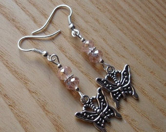 Charm Earrings, Butterfly Jewellery, Unique Earrings, Stocking Filler, Tibetan Jewellery, 16th Birthday Gift for Sister, Daughter Gift