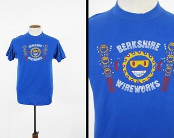 Vintage 80s Berkshire Wireworks T-shirt Fireworks Manufacture - Medium