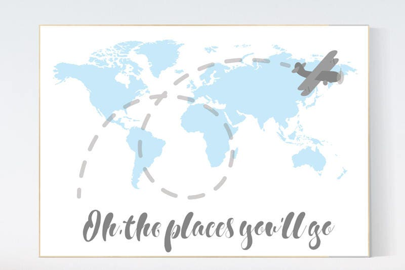 Oh the places youll go world map wall art world map nursery blue oh the places youll go world map wall art world map nursery blue nursery decor world map wall art baby boy nursery nursery decor boy gumiabroncs Images