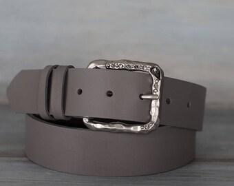 Leather Belt, Gray Leather Belt, Womens Belt, Fashion Belt