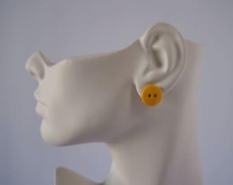 Yellow button stud earrings