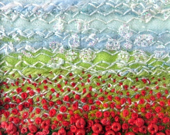 Beaded greeting card - red beaded poppy meadow - fabric landscape art card - embroidered card - french knots - needlework art for framing