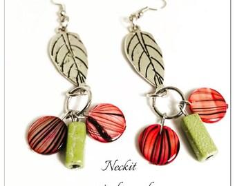 Beaded Leaf Dangle Earrings