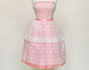 SALE///Vintage 1950s Party Dress...WILL STEINMAN Original Pink and Ivory Party Dress