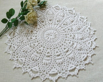 Crochet doily Large doily Lace doily Round doily White doily Handmade doily Home decor Table decoration Anniversary gift Christmas gift