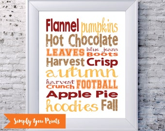 Fall Subway Art -Instant Download- Autumn, A Collection of Fall Favorites, Home Decor Print