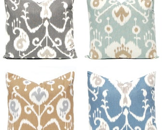 Pillow - Throw Pillow Cover - Ikat Design - Four Colors - 16 x 16, 18 x 18, 20 x 20 - Blue Pillow Covers - Decorative Pillow Blue