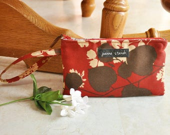Red and brown wristlet, zippered clutch wristlet, small handbag with wrist strap, wristlet purse with zipper, wristlet wallet, gifts for her