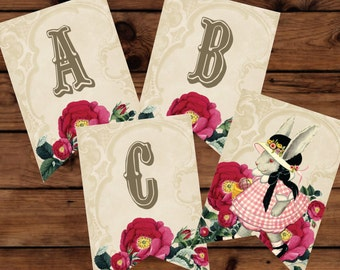 Easter Banner, Easter Party Banner, Spring Party Banner, Victorian Party Banner, Floral Party Banner