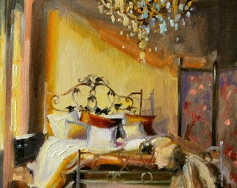 Interior ART print of FRANSE SLAAPKAMER, French interior, French furniture, chandelier, ornate bed, brown and yellow