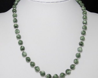 beautiful Seraphinite 8mm round and  925 Silver 19 inch Necklace