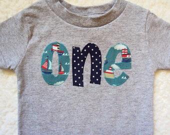 Nautical Birthday Shirt- Tugboat Birthday Shirt- Boat Birthday- Nautical Birthday Party- One Year Old Birthday shirt- 2 year old Shirt