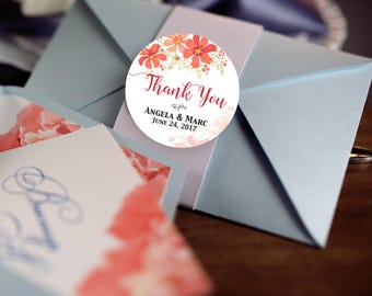 Thank You, Custom Labels - Personalized Stickers -  Round Stickers - Tropical - Flowers - Color Coordinated - Wedding Decor - Bridal Shower