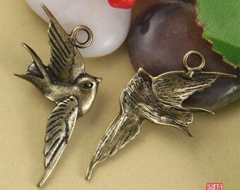 Clearance-4pcs Brass Flying Swallow Charm