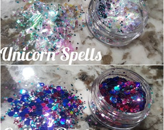Chunky glitter for makeup and hair