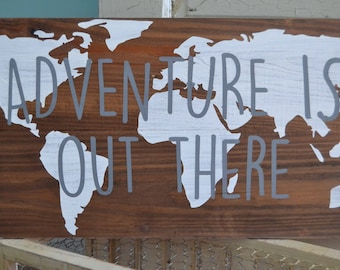 Adventure Hand Painted Wood Sign