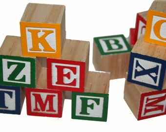 Alphabet Wood Blocks, Wooden Blocks, ABC Blocks, Guest Book Signing, Baby Alphabet Blocks, Cake Decor,Photographer Prop,Wooden Letter Blocks