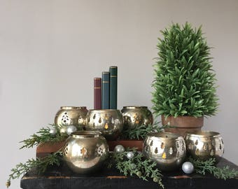 Christmas Tree Votive Holders, Vintage Silver Plated Candle Holders, Set of Six (6) Pierced Tea Lights, Silver on Brass Tarnished Patina