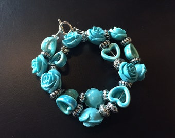 Turquoise heart and rose wrap bracelet