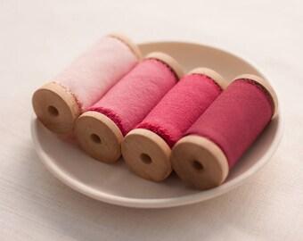 Blush silk ribbon set, silk ribbon, hand dyed ribbon, Bouquet ribbon, vintage ribbon, gift wrap, floral wrap, ribbon, hand dyed ribbon