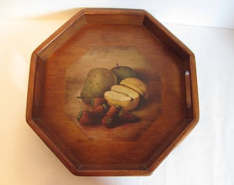 Vintage Wooden Octagon Serving Tray With Handles Decorative Beverage Tray Gifts Still Life Fruit Decor