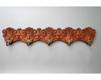 Ornate Vintage Wooden Coat Rack with 5 Spelter ( Metal) Hooks-Vintage European Coat Rack