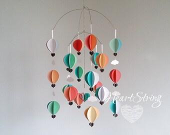 Hot Air Balloon Mobile- Coral Aqua Nursery Mobile - Girls Room- Baby Mobile | TROPICANA DREAM