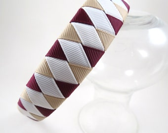 Maroon White Tan Headband - Beige Burgundy Headband - Ribbon Woven Headband - Braided Headband - Child Teenager Adult Headband