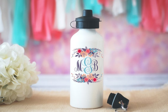 Custom Monogram Water Bottle, Floral Monogram Water Bottle, Personalized Gift, Initials Water Bottle, Personalized Gift, Monogrammed Mug