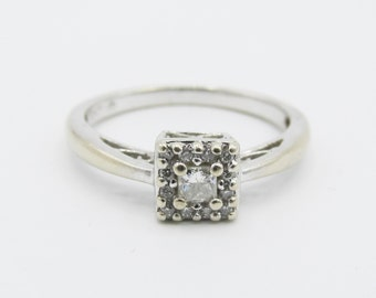 Estate 10k White Gold Princess Diamond Solitaire Halo Engagement Ring April Bday