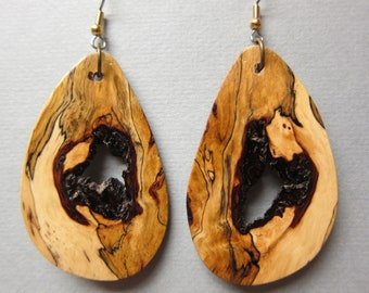 Stunning XLarge Sindora Burl with natural hole Exotic Wood Dangle Earrings  handcrafted ecofriendly