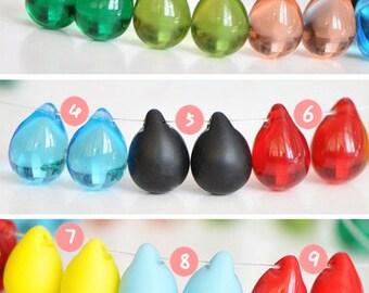 8pcs Czech glass teardrop beads 14mm smooth and matte -(CK08)
