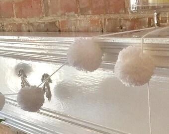 White Pom-Pom Garland. Baby shower decorations.  Wedding shower decorations.  Nursery decor