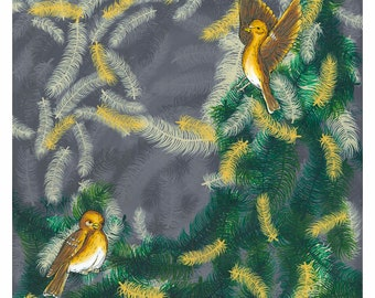 Goldfinch on Green Print