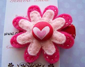 NEW Valentine's Day Double layer hand stitched flower Hairclip