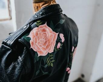 Hand-Painted Pink Roses on Vintage Black Leather Biker Jacket // SM-MED