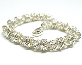 Sterling silver chainmail bracelet,sterling silver chainmail byzantine bracelet,sterling silver byzantine bracelet,vicking jewelry