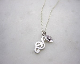 Personalized Music Note necklace, Treble clef, Sterling silver Clef note charm, Personalized initial, D-003
