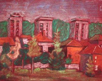 Vintage cityscape landscape pastel painting
