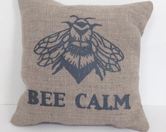 Honeybee linen sachet cushion filled with fragrant lavender: Bee Calm